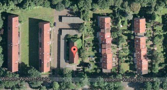 Screenshot von Google Maps mit einem markierten Hochbunker aus dem Versteigerungsangebot.